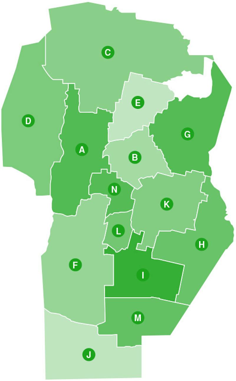 Mapa de Delegaciones del CIA en la Provincia de Córdoba